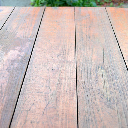 Tabletop of planks